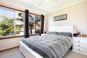 master bedroom with built in wardrobes